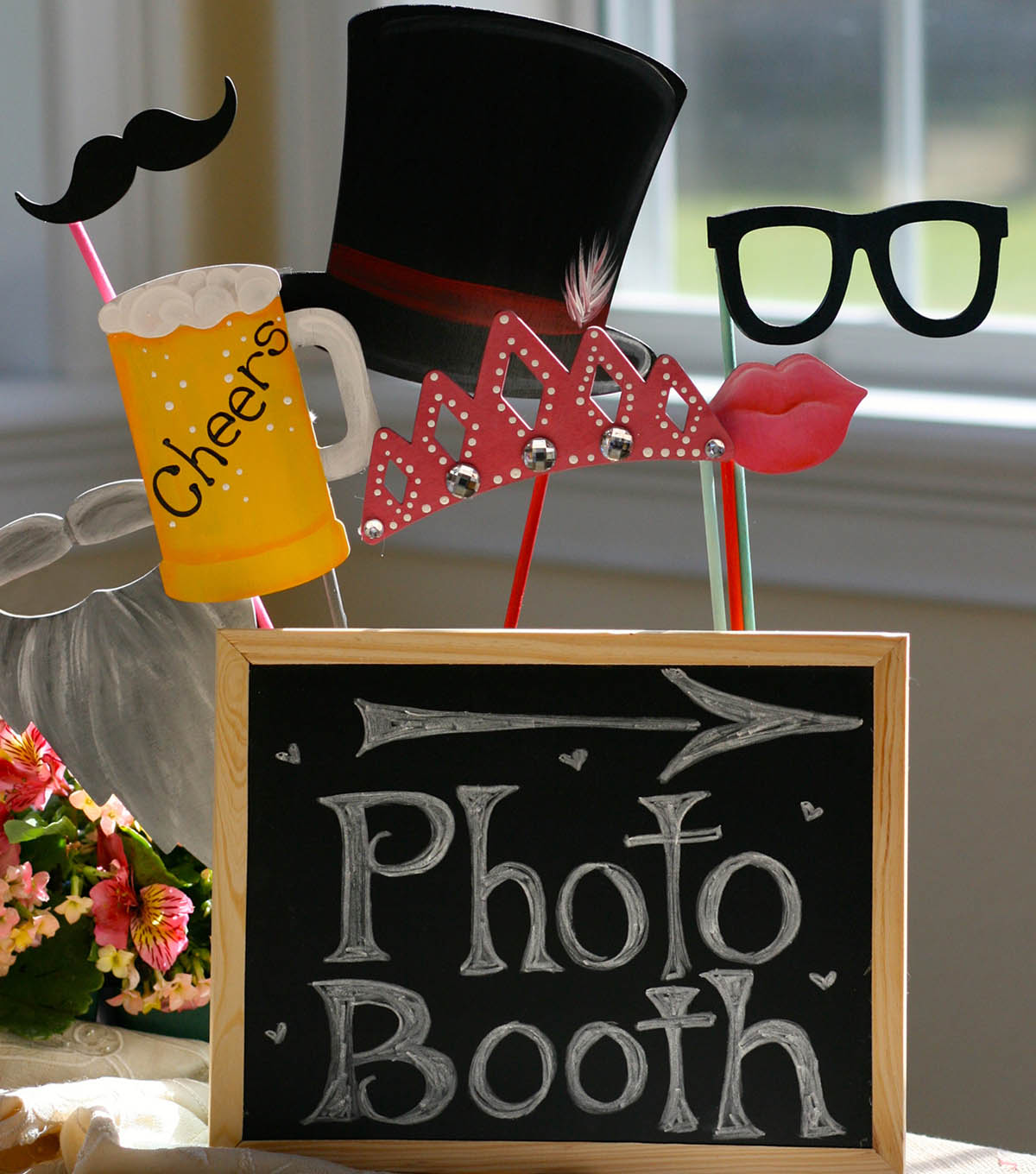 """Photo Booth"" Sign and Photo Props"