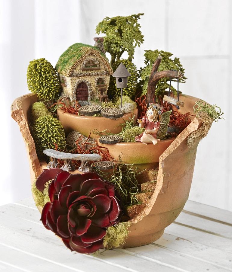 fairy garden broken pot joann. Black Bedroom Furniture Sets. Home Design Ideas