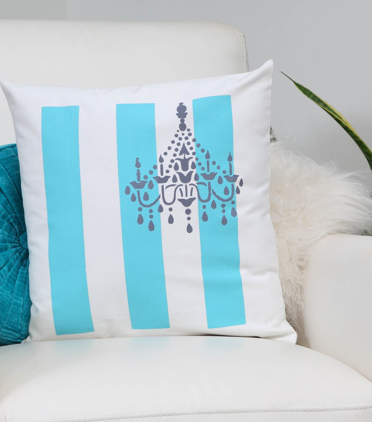 Vintage Chandelier Striped Pillow