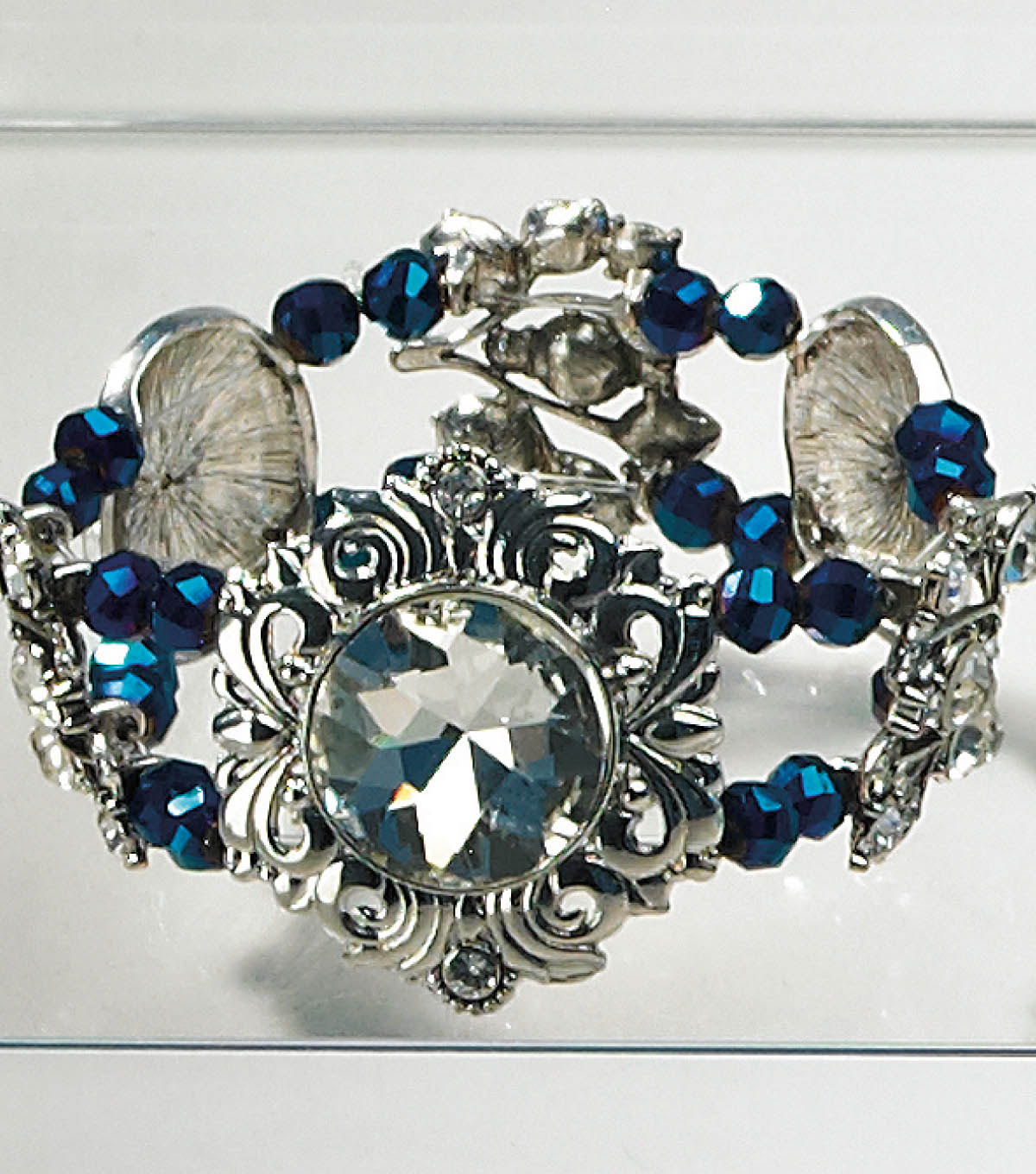 Blue Iris and Sliver Slider Bracelet