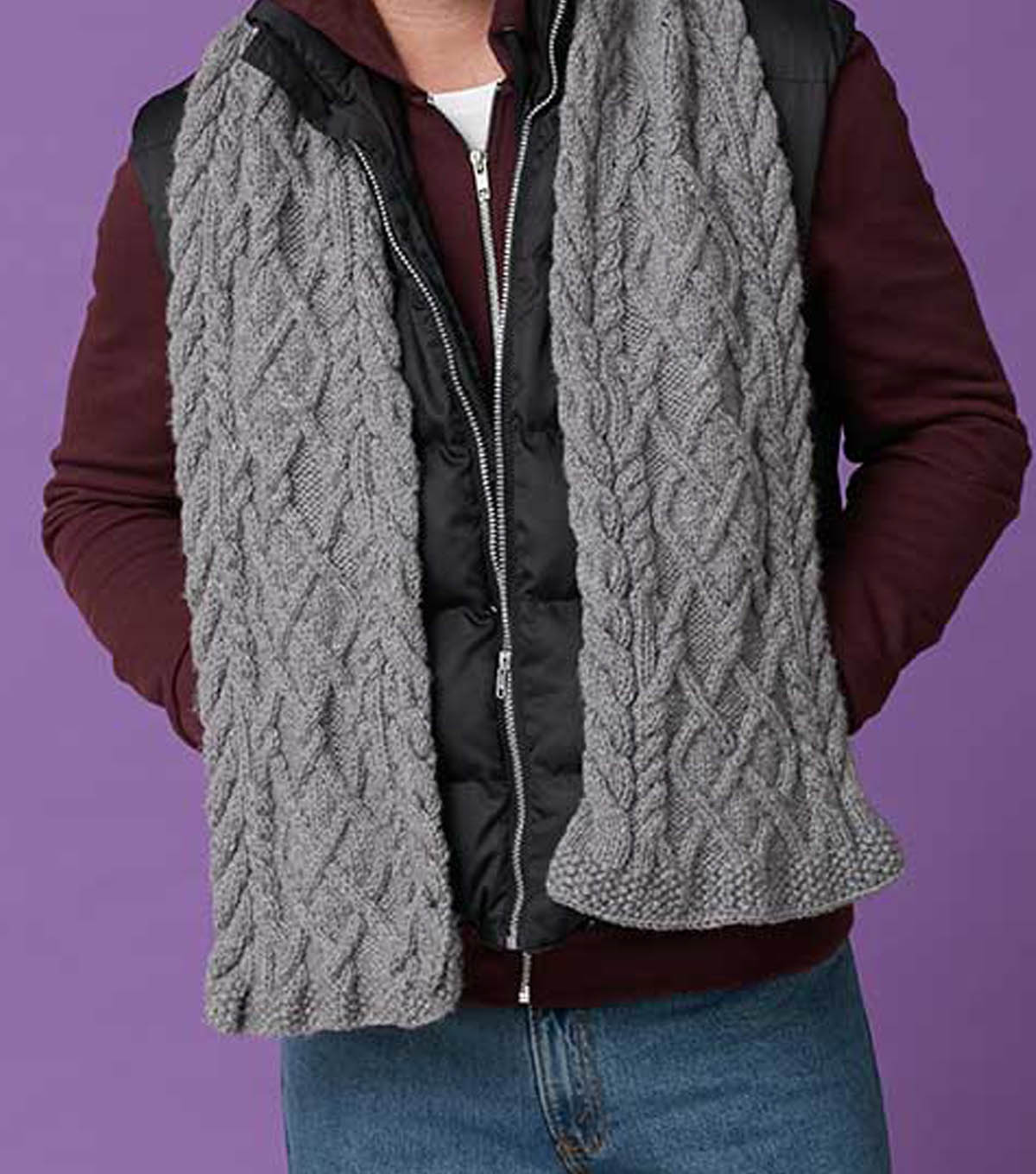 Mens Cable Scarf