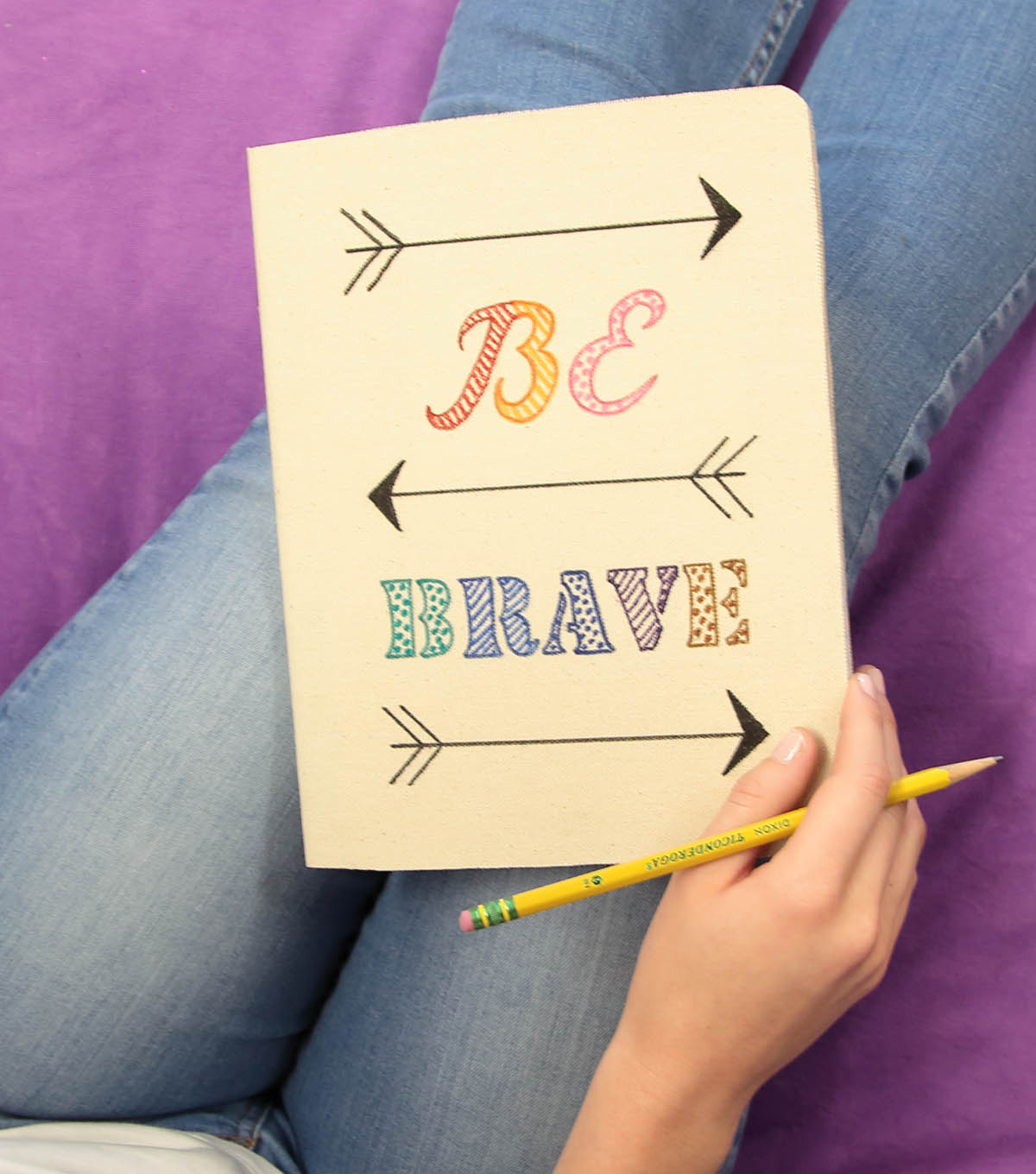 How To Make A \u0022BE BRAVE\u0022 Canvas Journal
