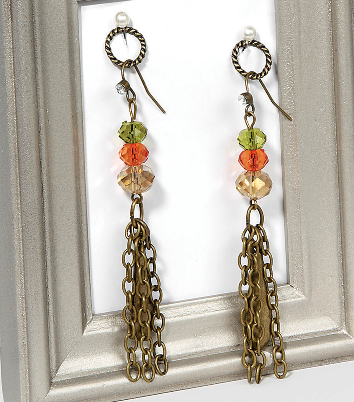 Antique Gold Green and Orange Dangle Earrings