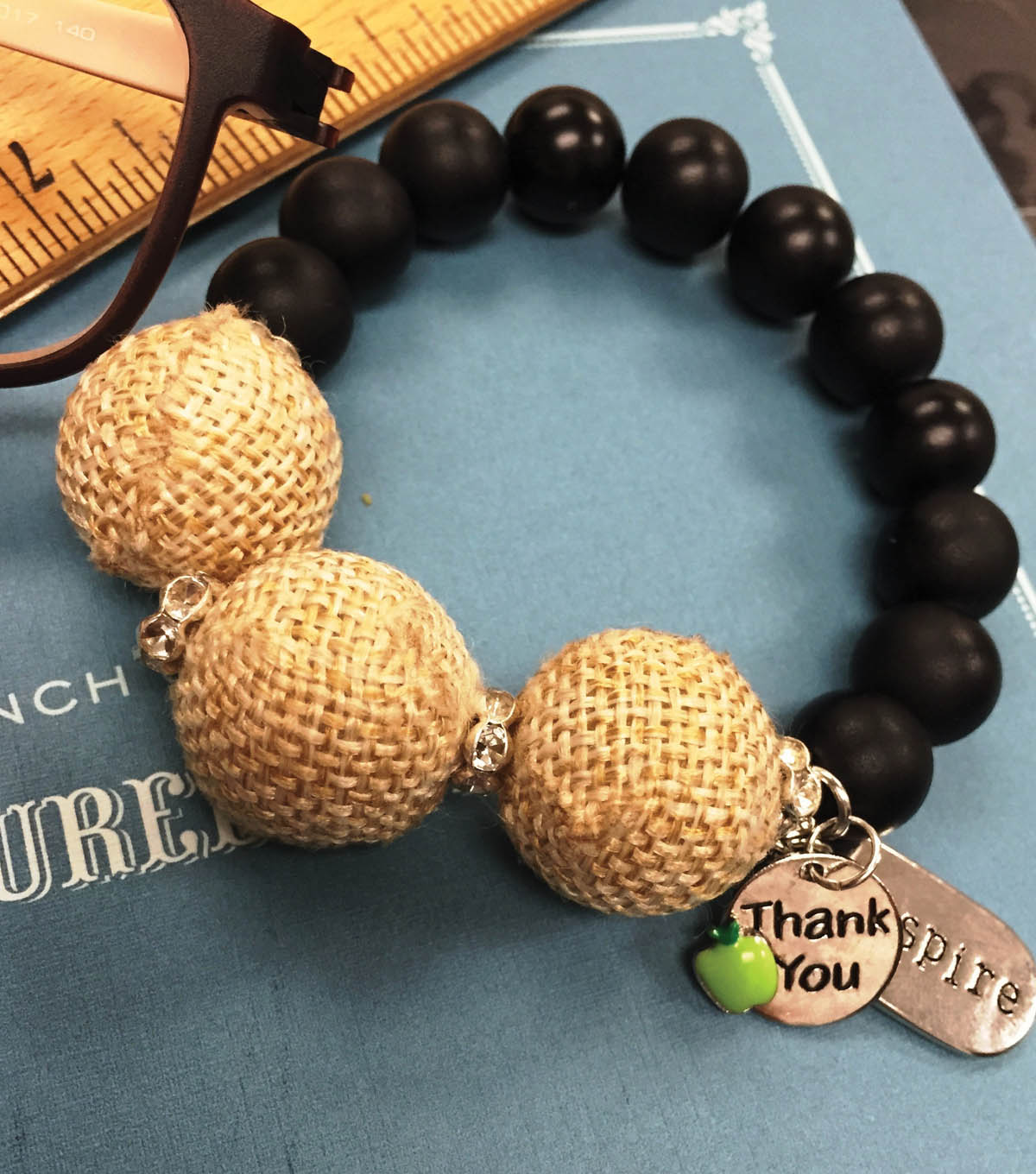 Burlap and Chalkboard Bracelet