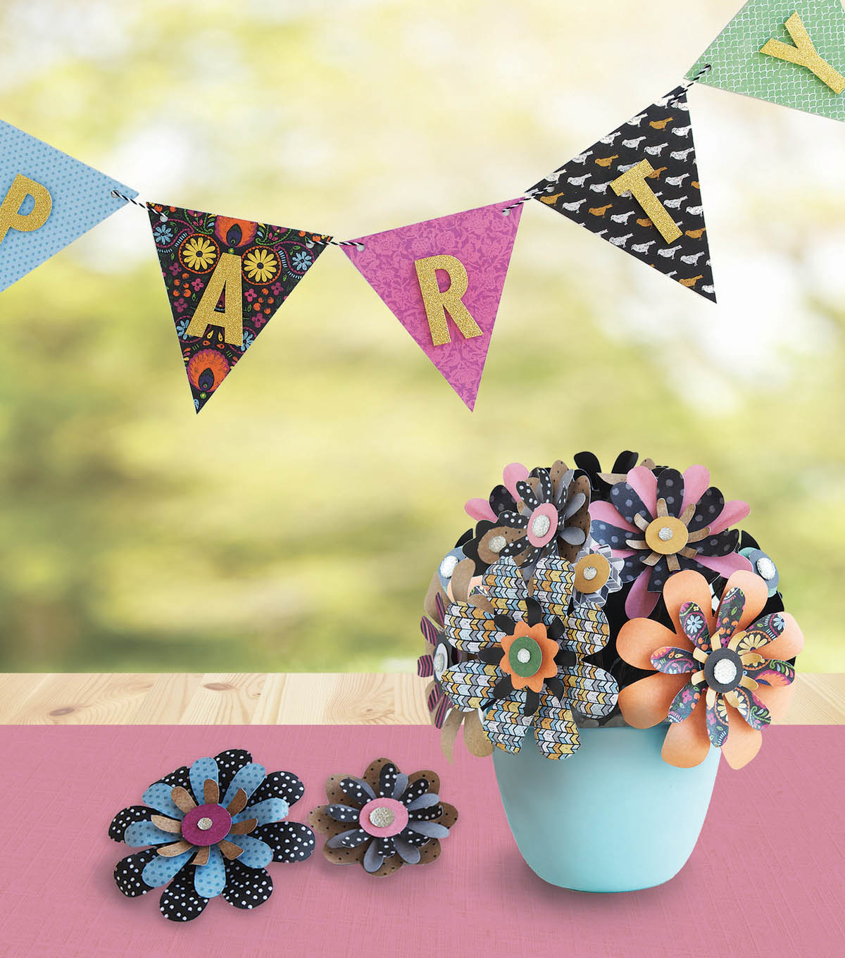 How To Make A Paper Flower Centerpiece and Party Banner