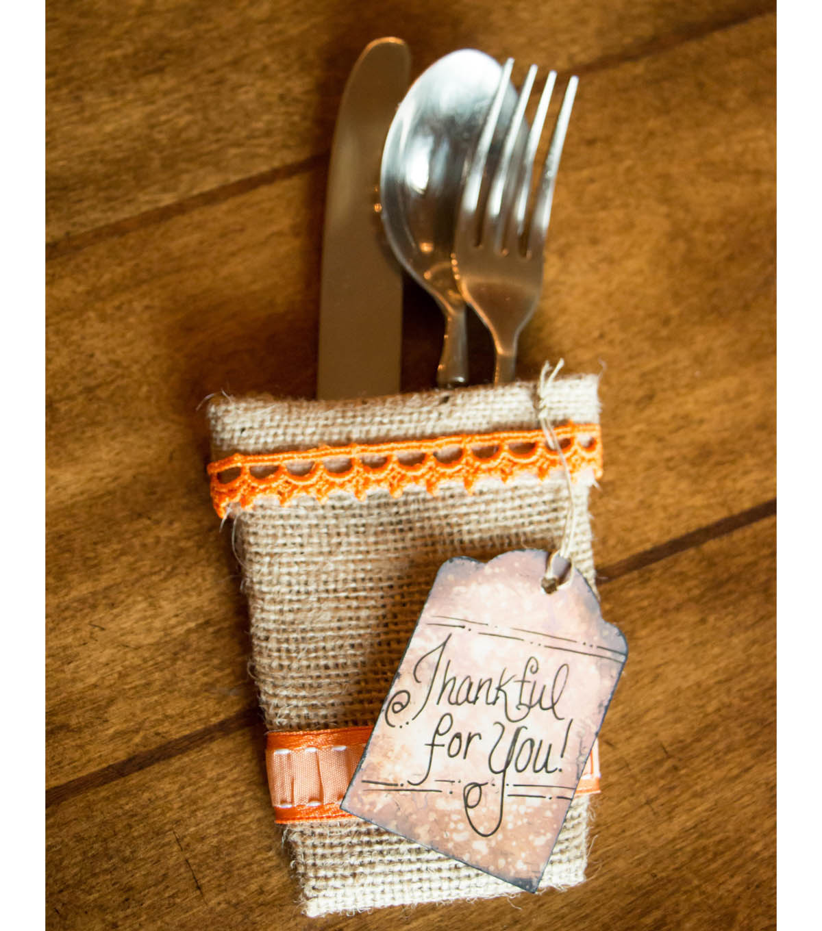 Burlap Silverware Pocket