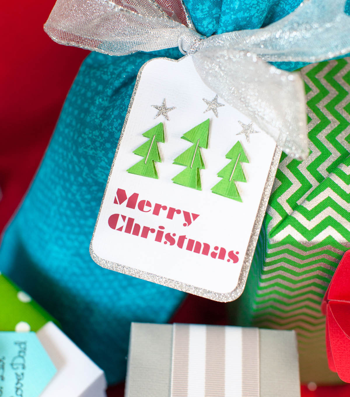 Christmas Tree Gift Tag and Fabric Bag