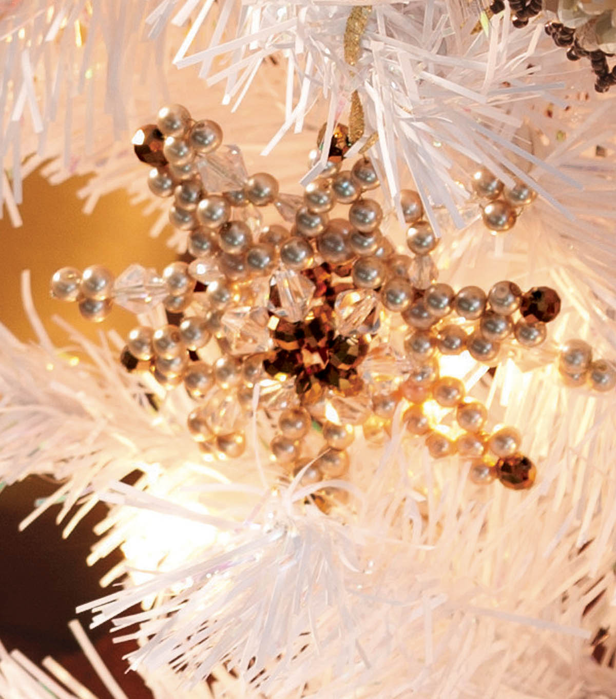 Gold Pearl Snowflake Ornament