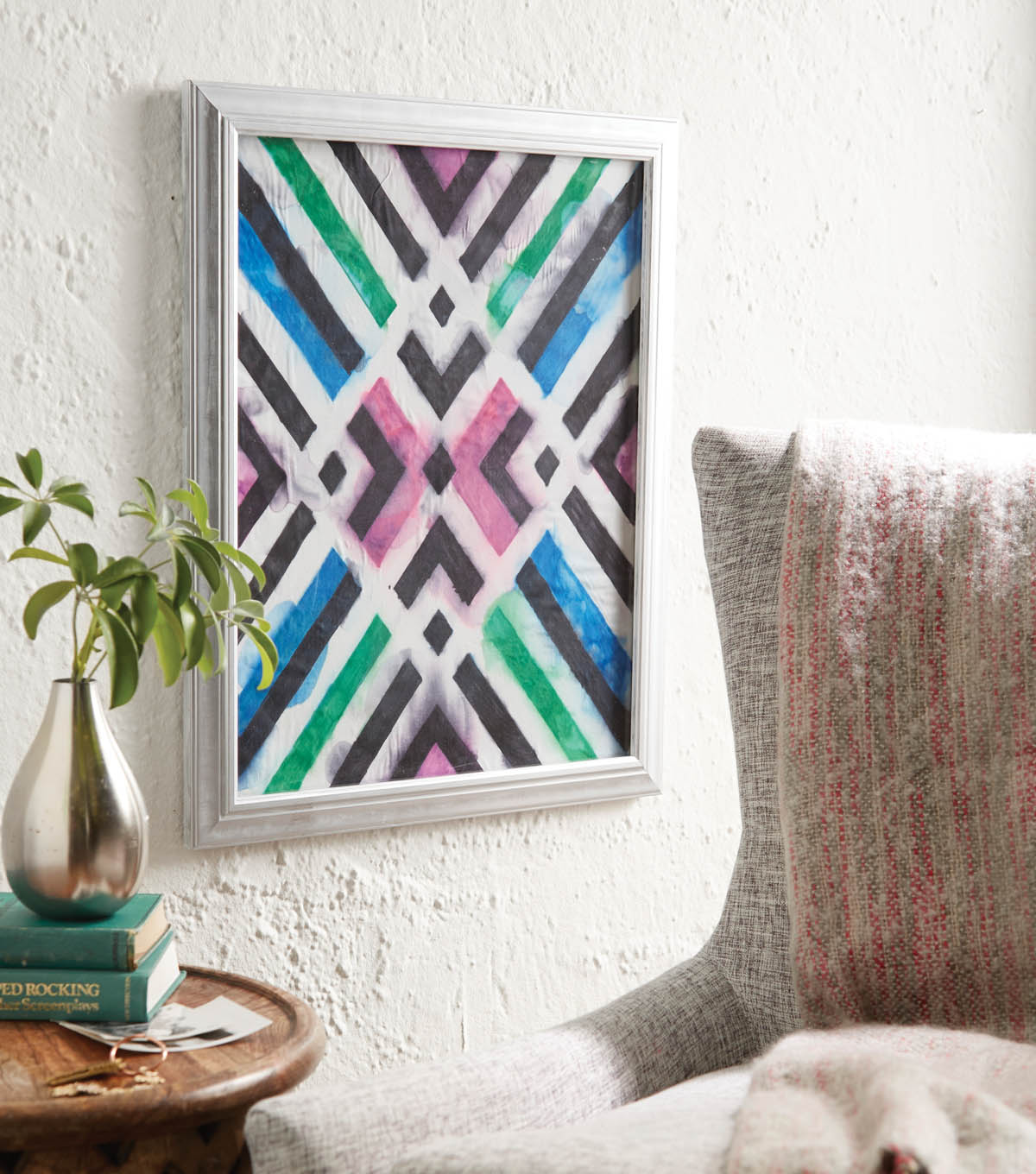 Tie Dye Fabric Art and Frame
