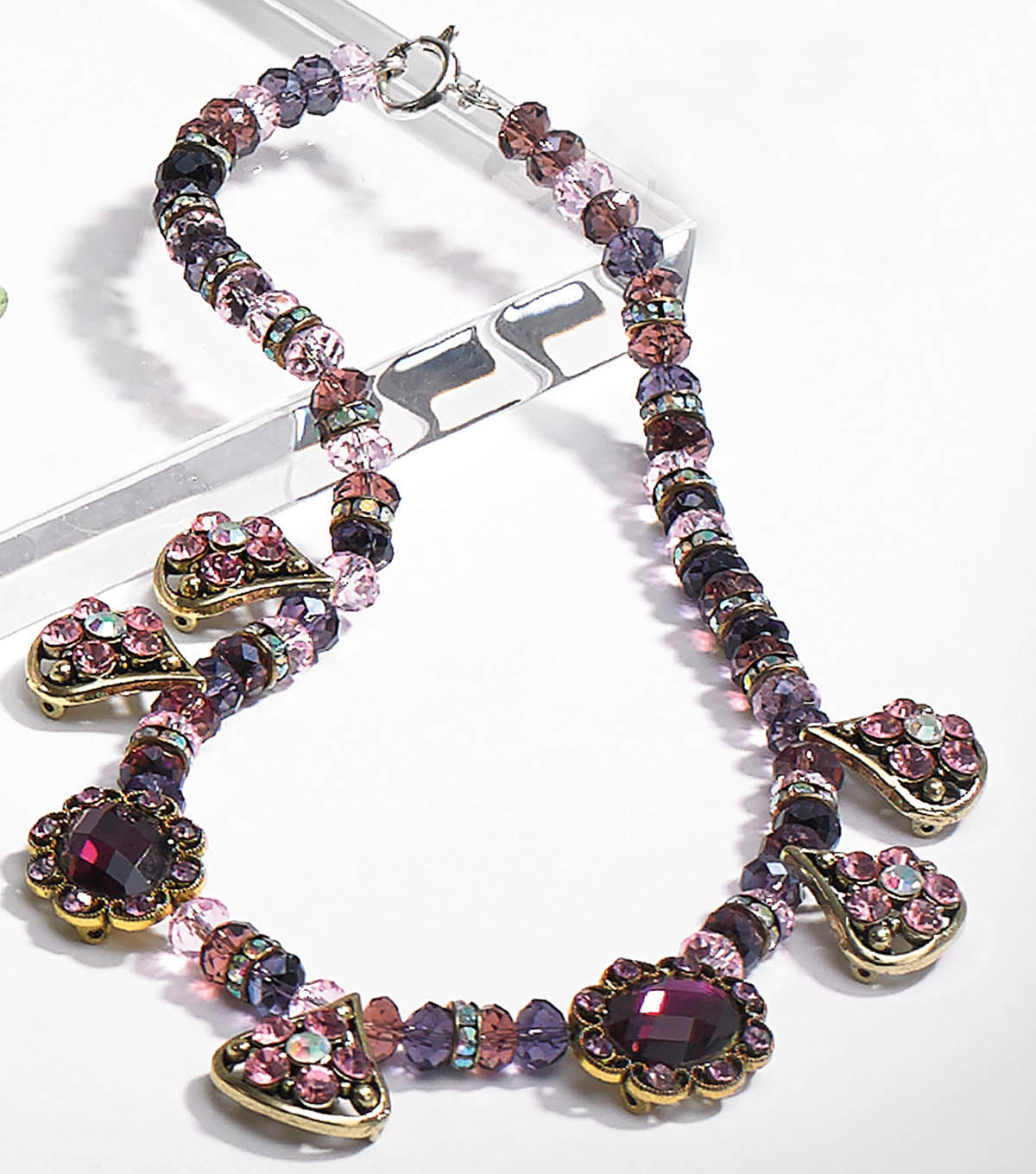 Amethyst and Crystal Rondelle Necklace