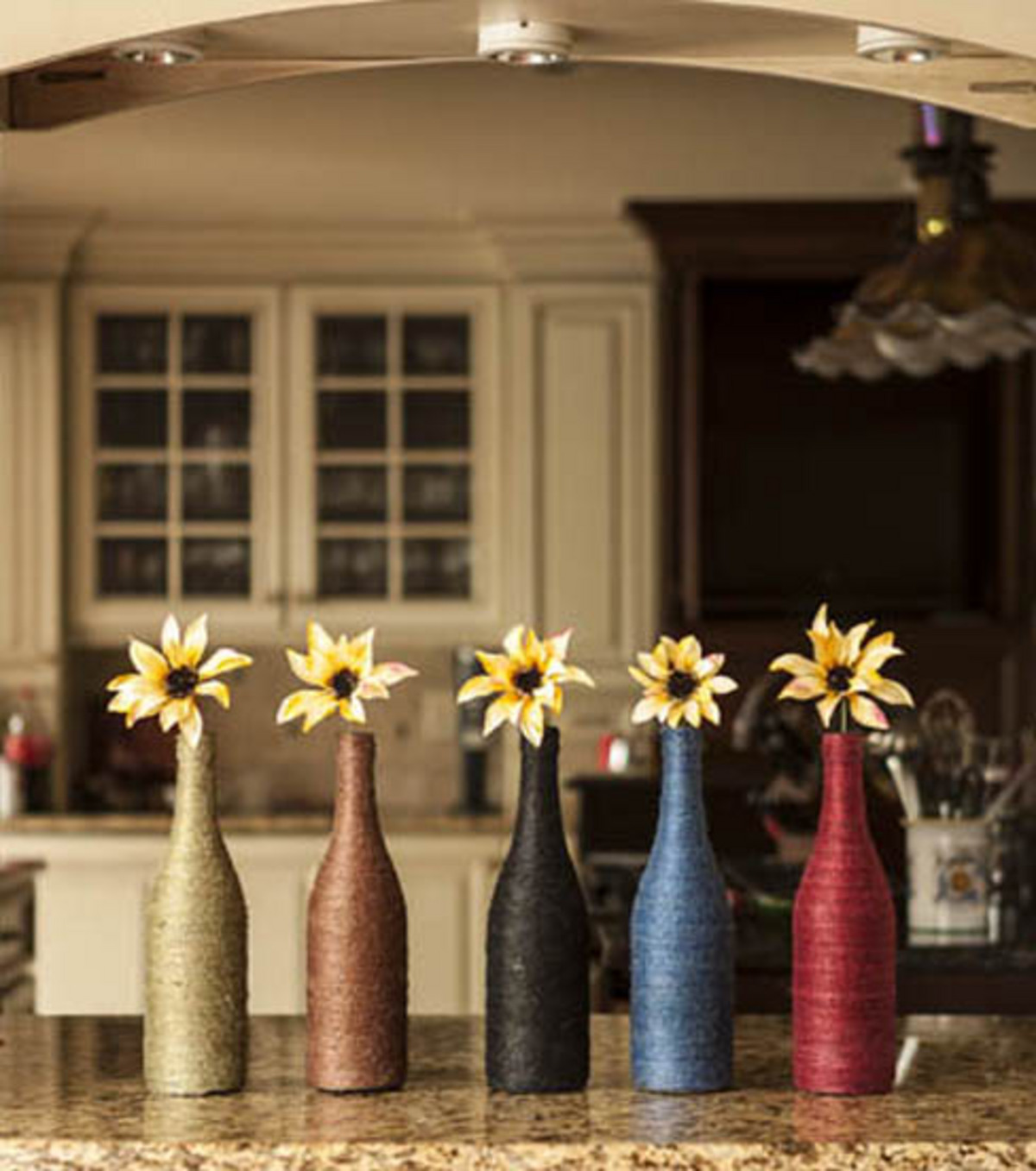 Twine Wrapped Wine Bottles
