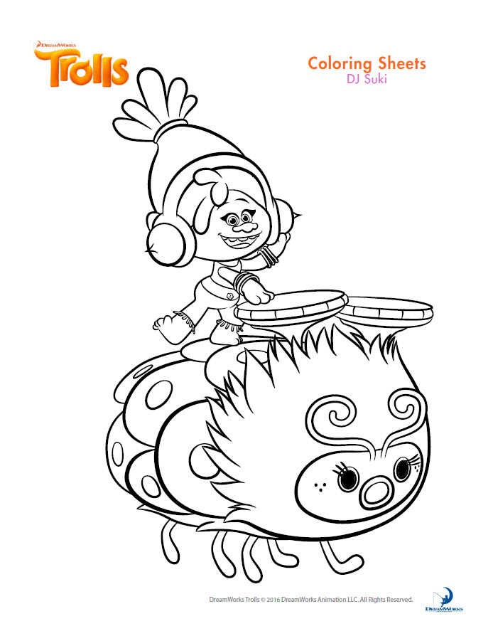 dreamworks trolls coloring book printables - Trolls Coloring Pages