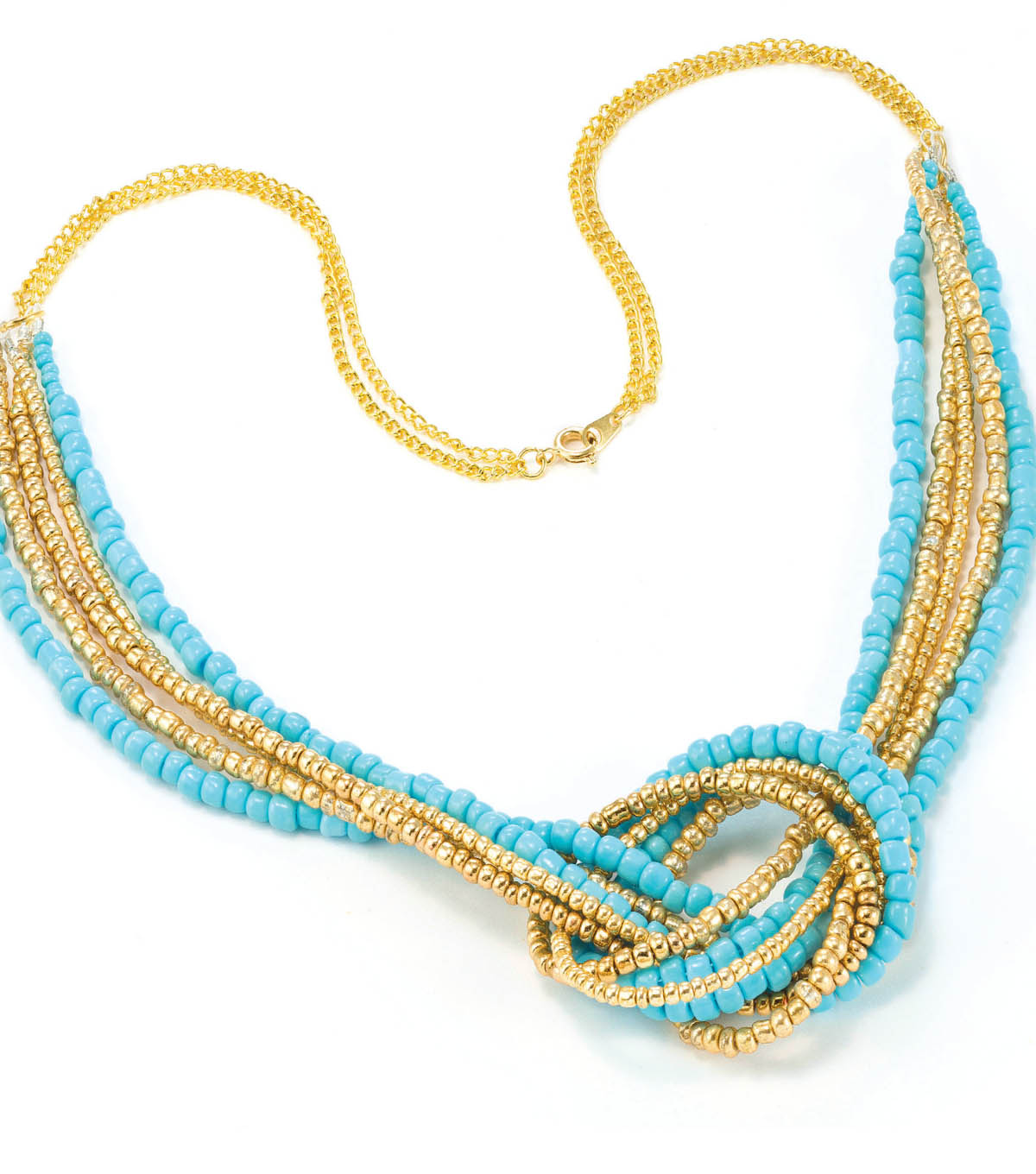 Seed Bead Love Knot Necklace