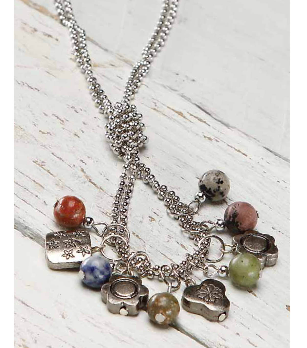 Knotted Loop Tassel Ball Chain Necklace