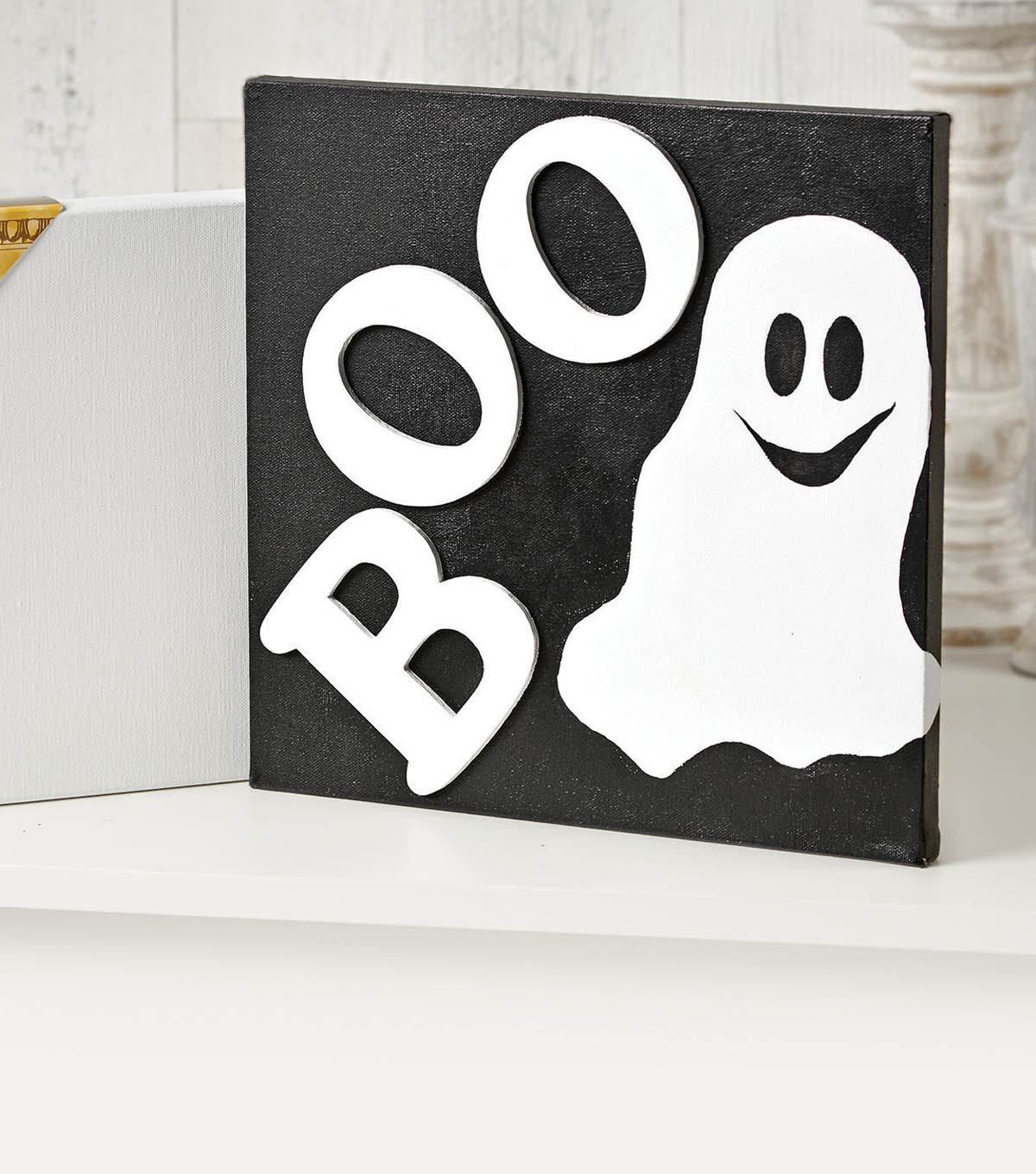 "12"" Canvas with Ghost and ""BOO"""