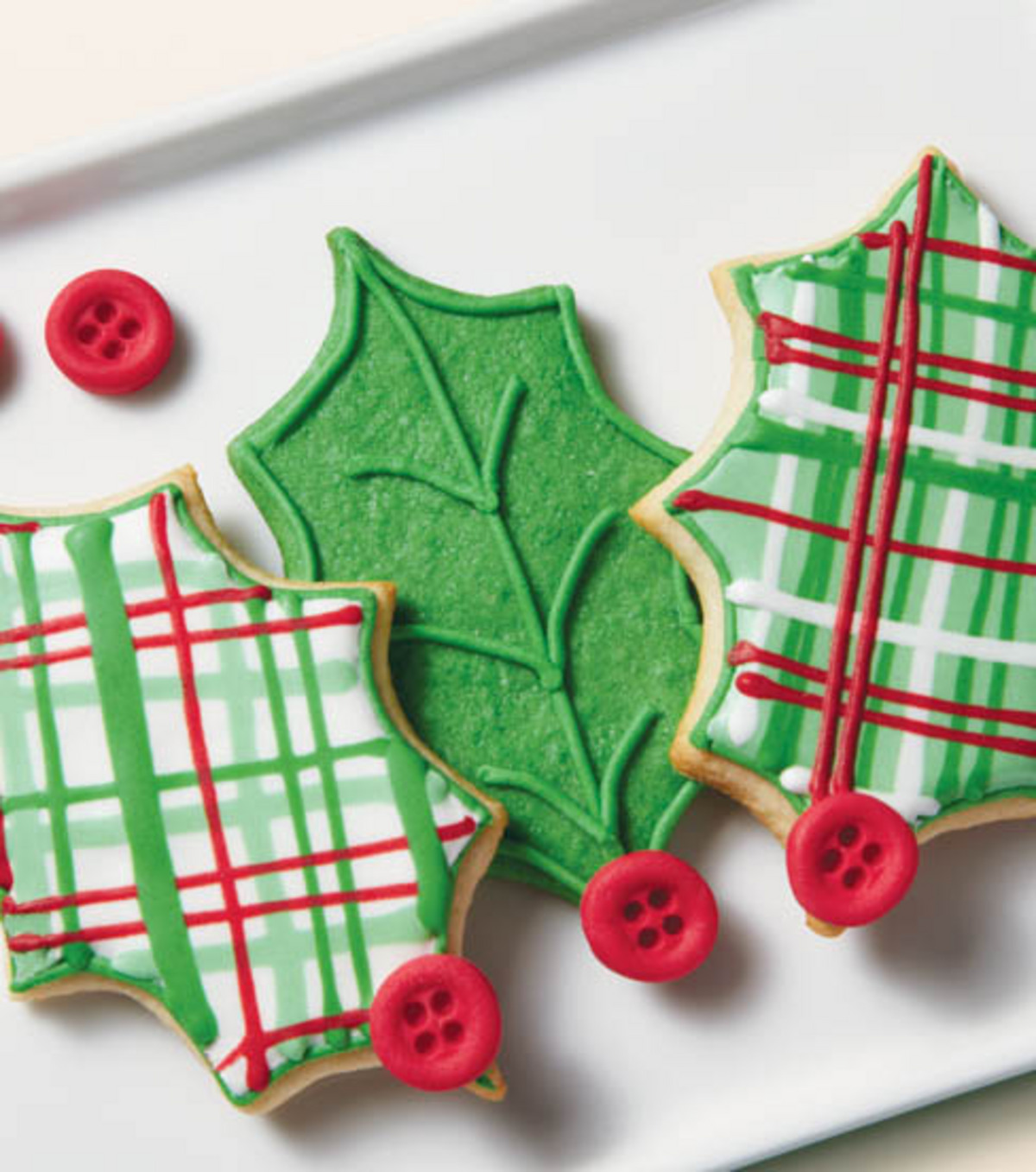 Plaid Tidings Holly Cookies