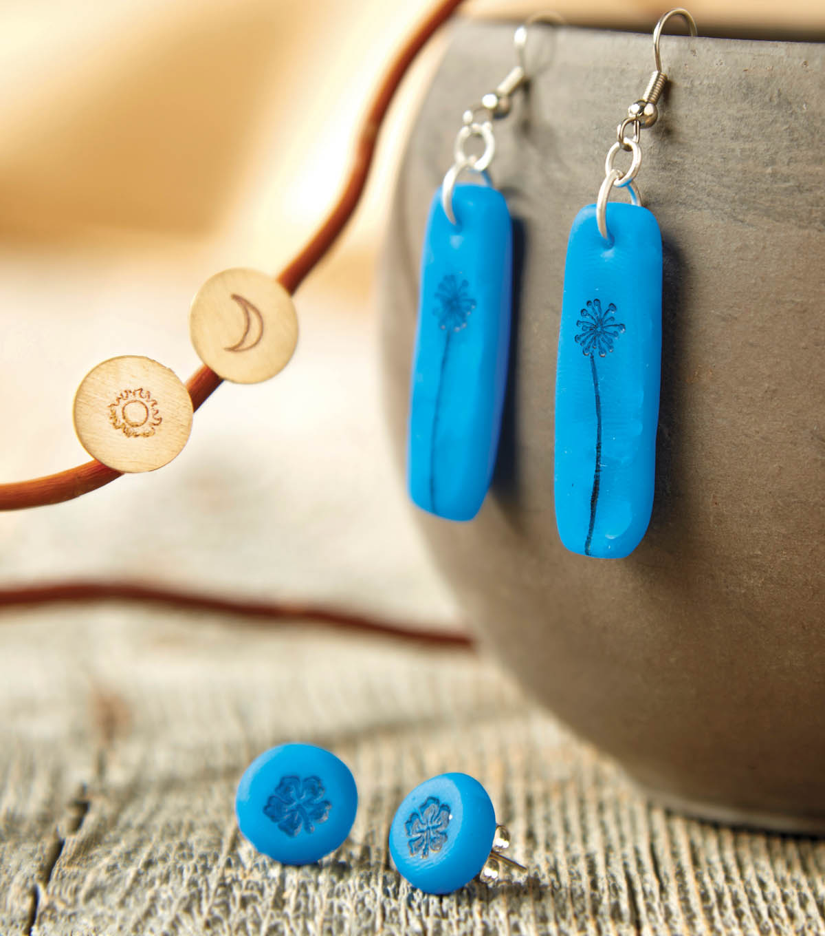 Hand Stamped Clay Earrings