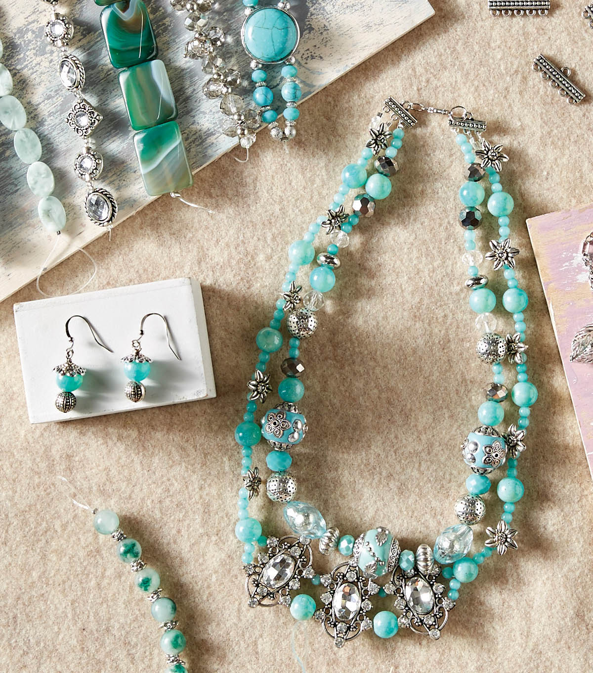 how to make chunky turquoise layered necklace and earrings joann. Black Bedroom Furniture Sets. Home Design Ideas