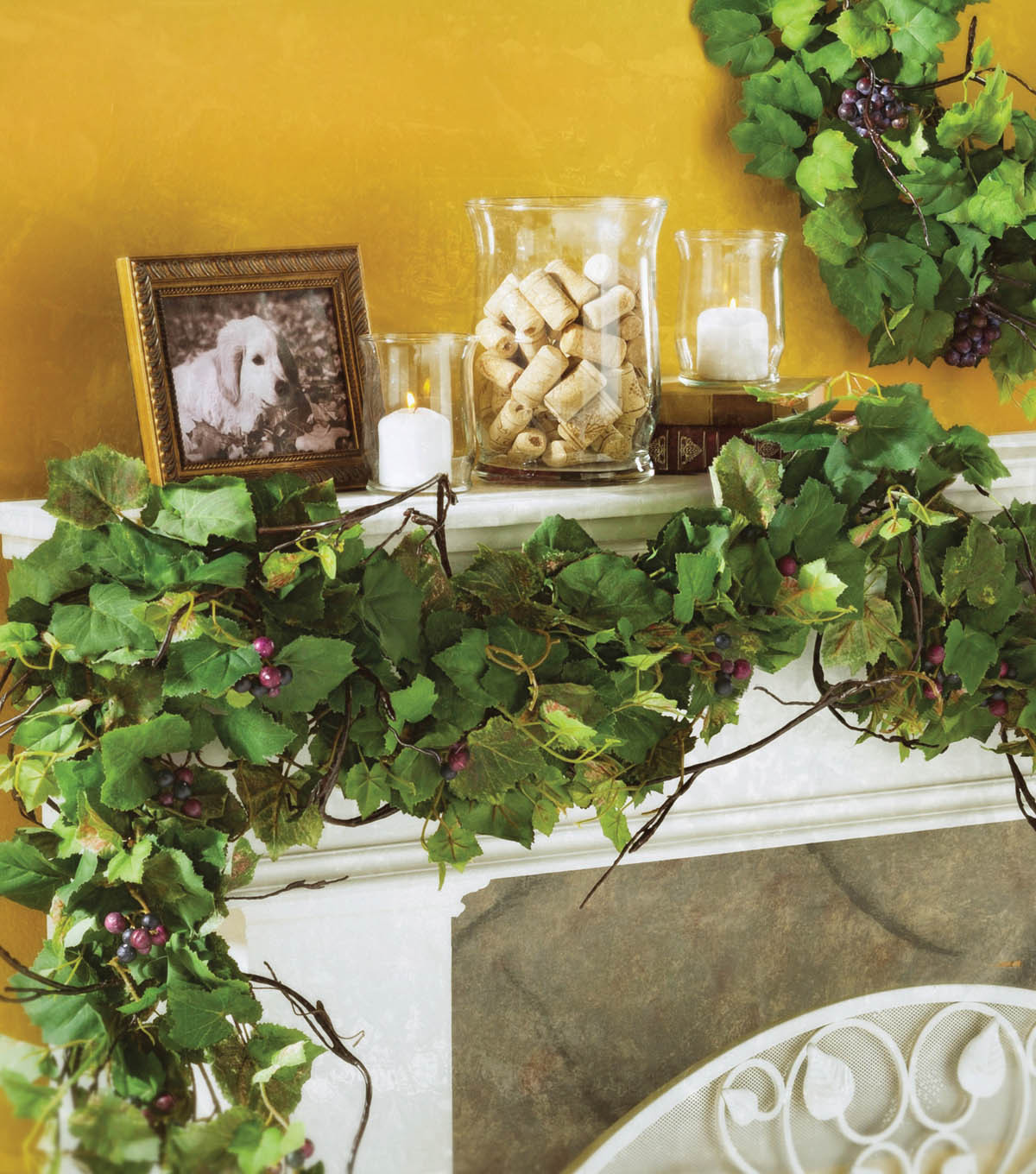 Grape Wreath and Garland Mantel