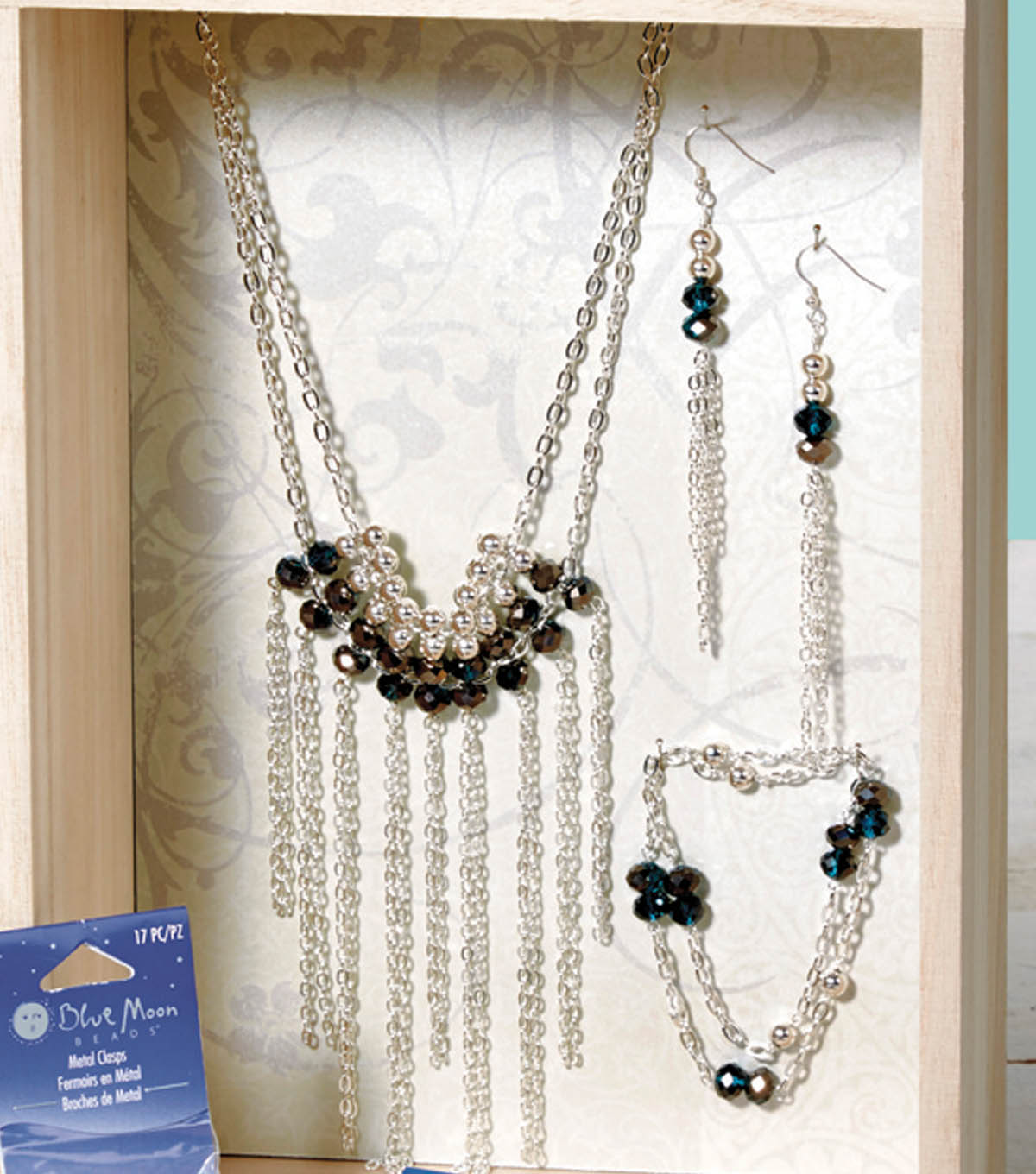 Crystal Chain and Fringe: Necklace, Wrap Bracelet, and Earring Set