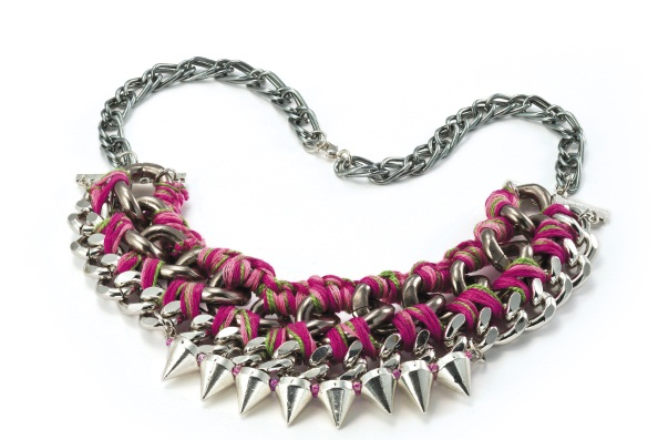 Woven Pink Thread Chain Necklace