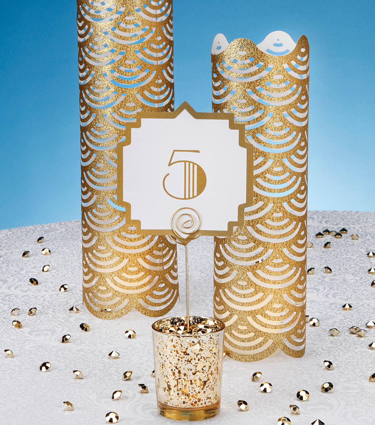 Art Deco Table Number and Decorative Luminary