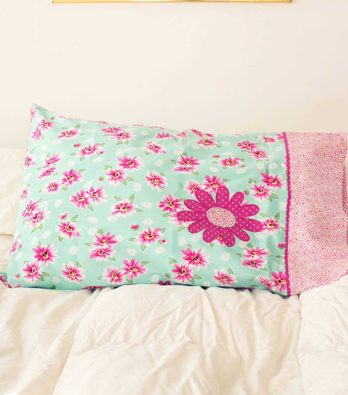 Stonehill Collection Flower Applique Pillow