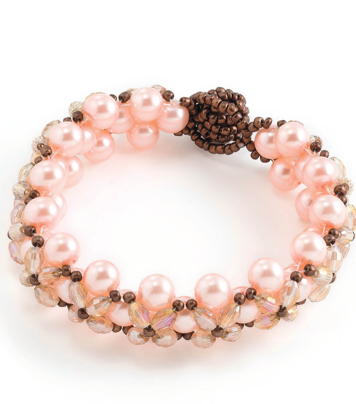 Pink Pearl and Bronze Bracelet
