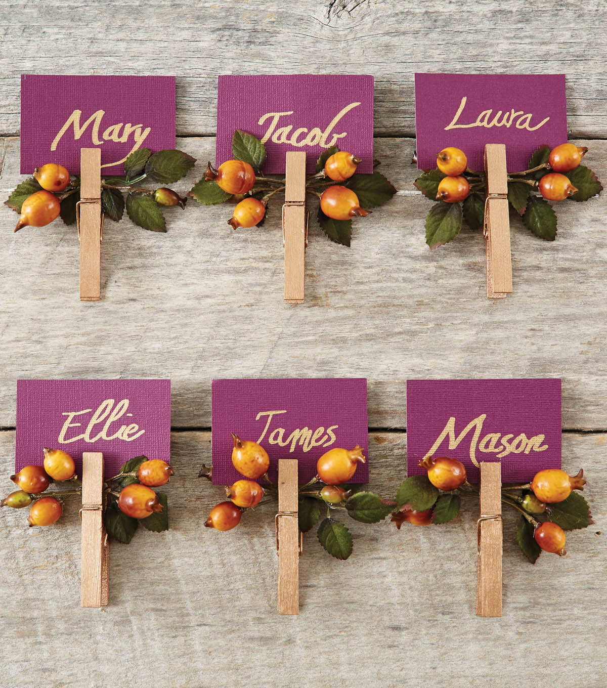 Clothespin Place Cards