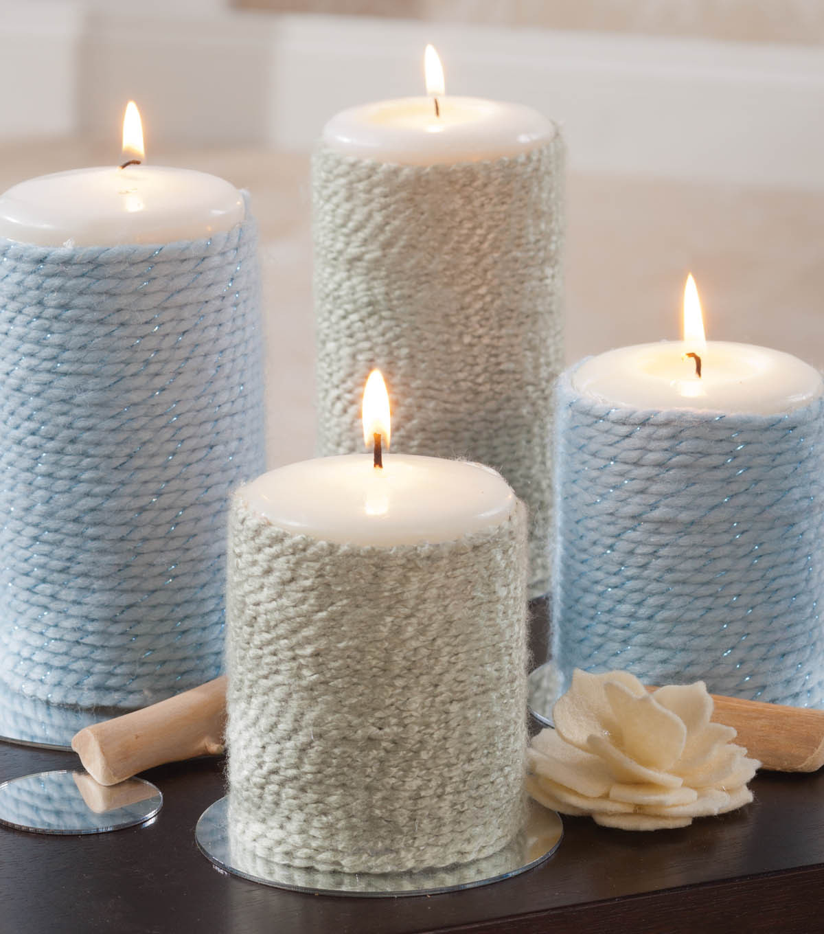 Yarn Wrapped Candles