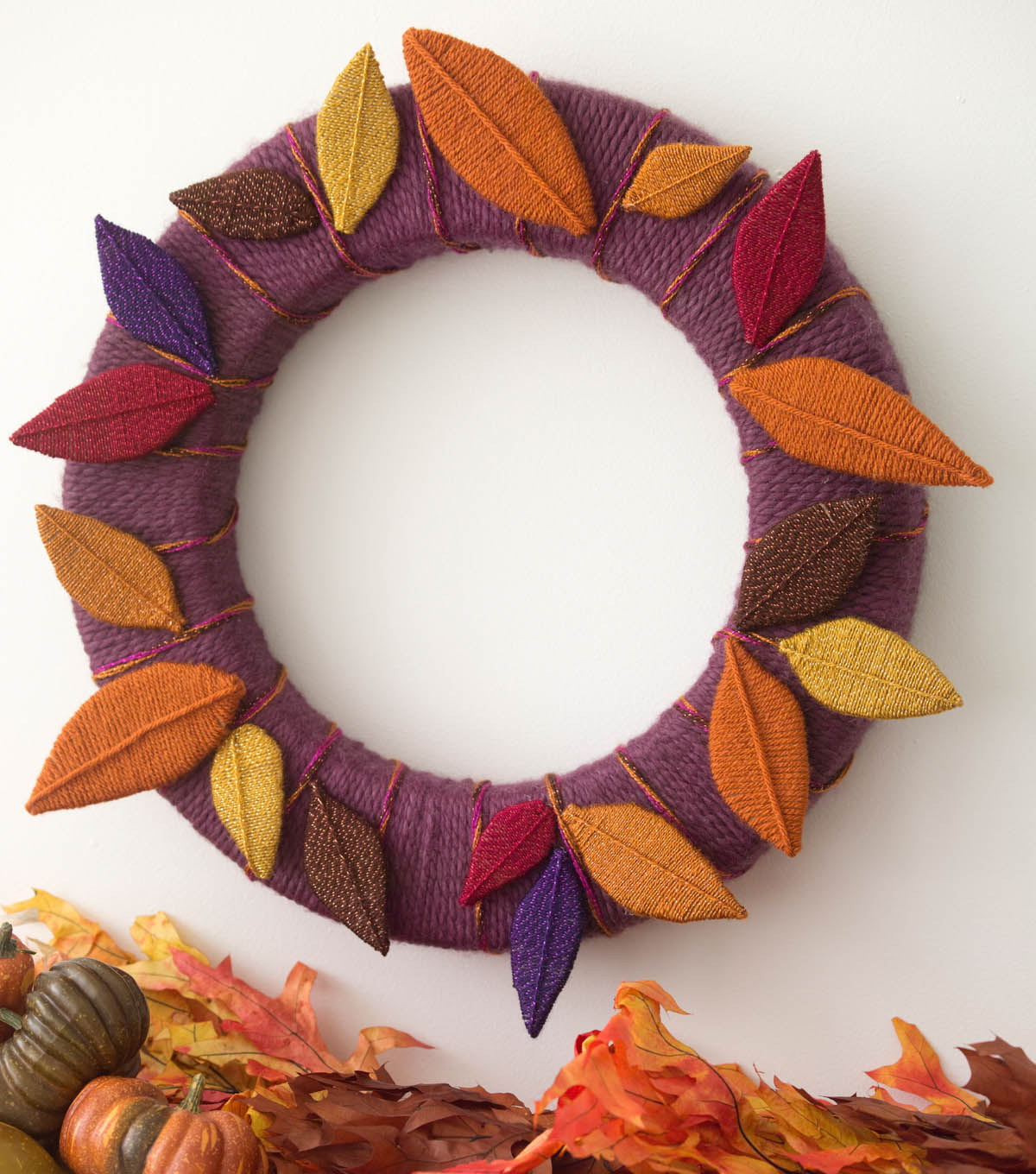 Leaves of Yarn Wreath