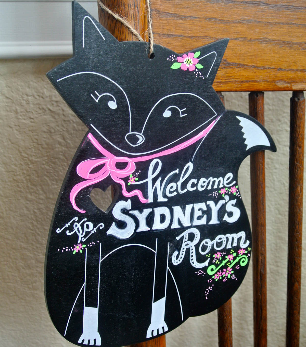 Decorative Fox  Chalkboard Plaque