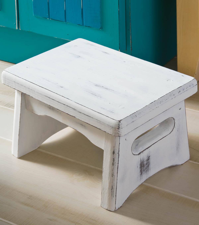 Wooden dollhouse step foot stool wood footstool stepstool furniture - Distressed Cottage Step Stool