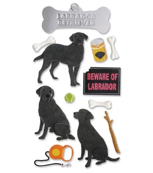 Themed Ornate Stickers-Labrador Retriever/Black