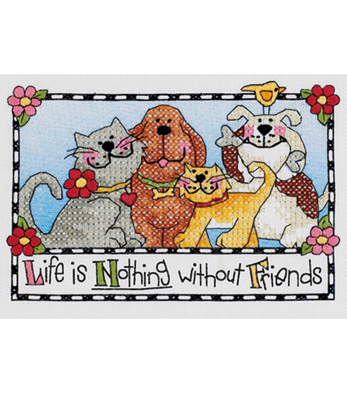 Life-Nothing W/out Friends Stamped XStitch Kit