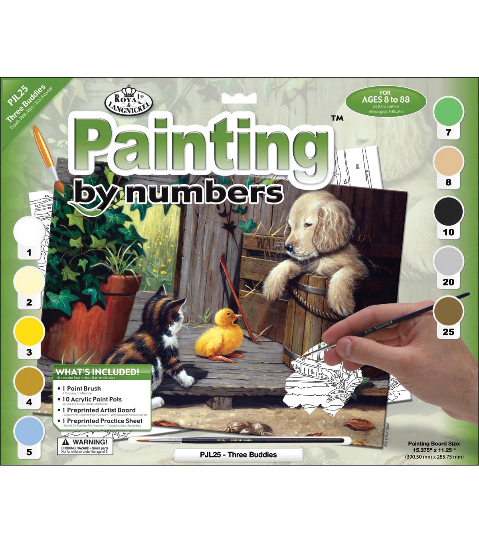 "15-1/4""x11-1/4"" Junior Paint By Number Kit-Three Buddies"