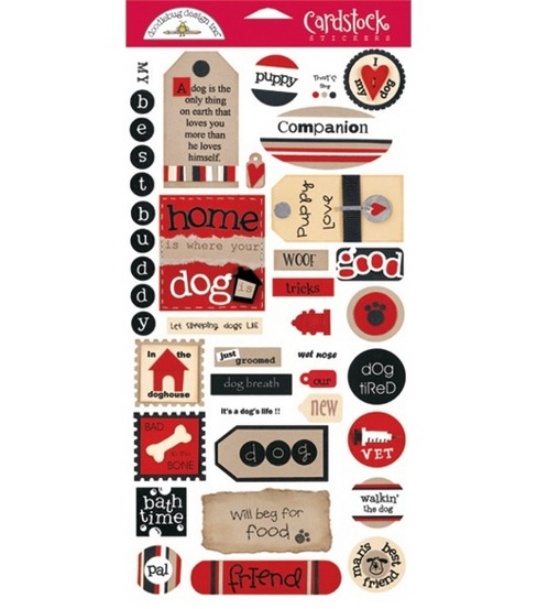 Cardstock Stickers & Tags 6''X12'' Sheet-Dog Tags