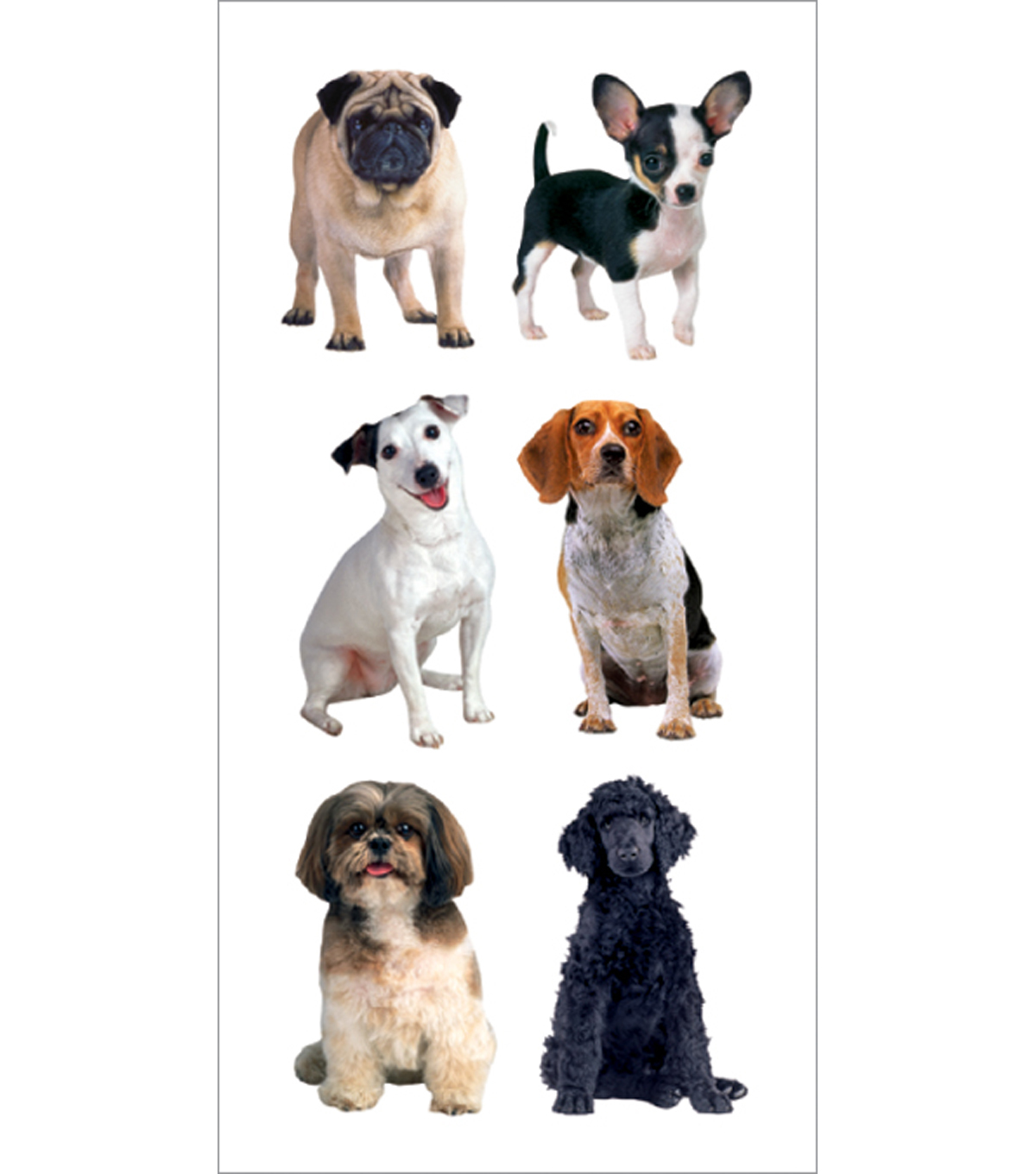 """Stickers 2""""X4""""-Small Mixed Dogs"""