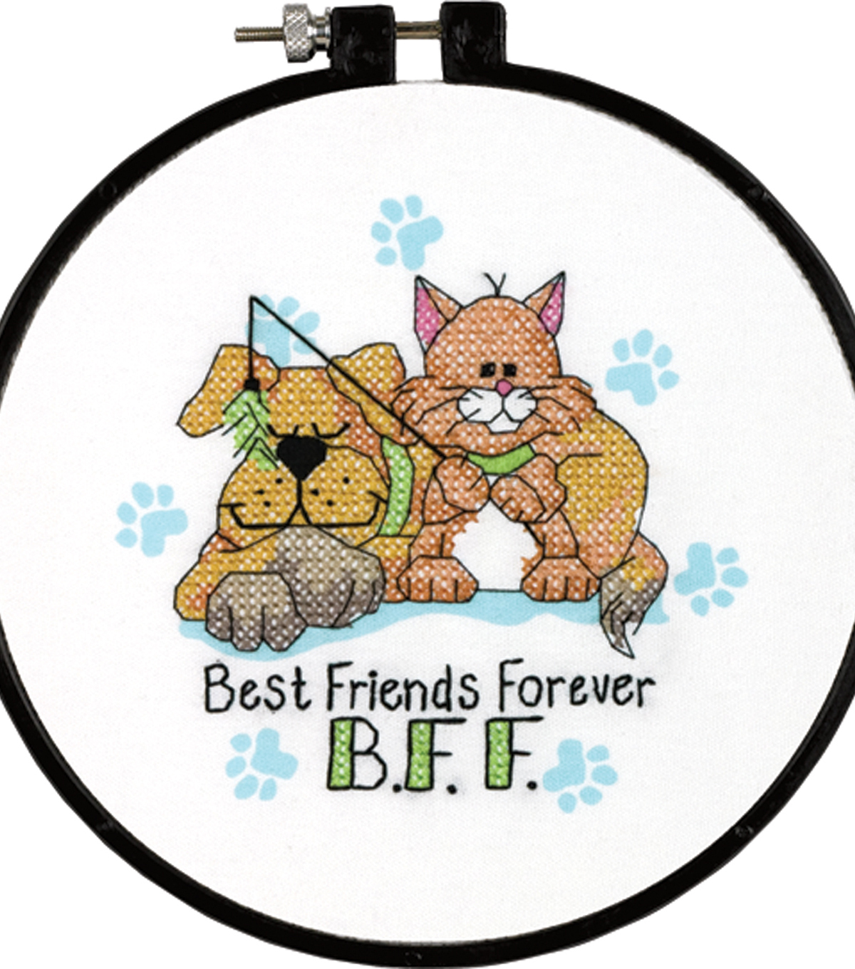 "Learn-A-Craft Best Friends Forever Stamped Cross Stitch Kit-6"" Round 14 Count"