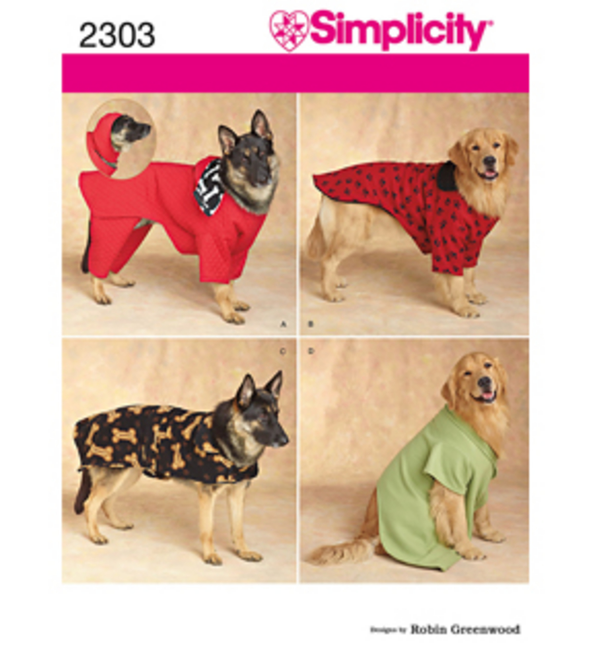 Simplicity Pattern 2303-Craft Dog Coats-All Sizes