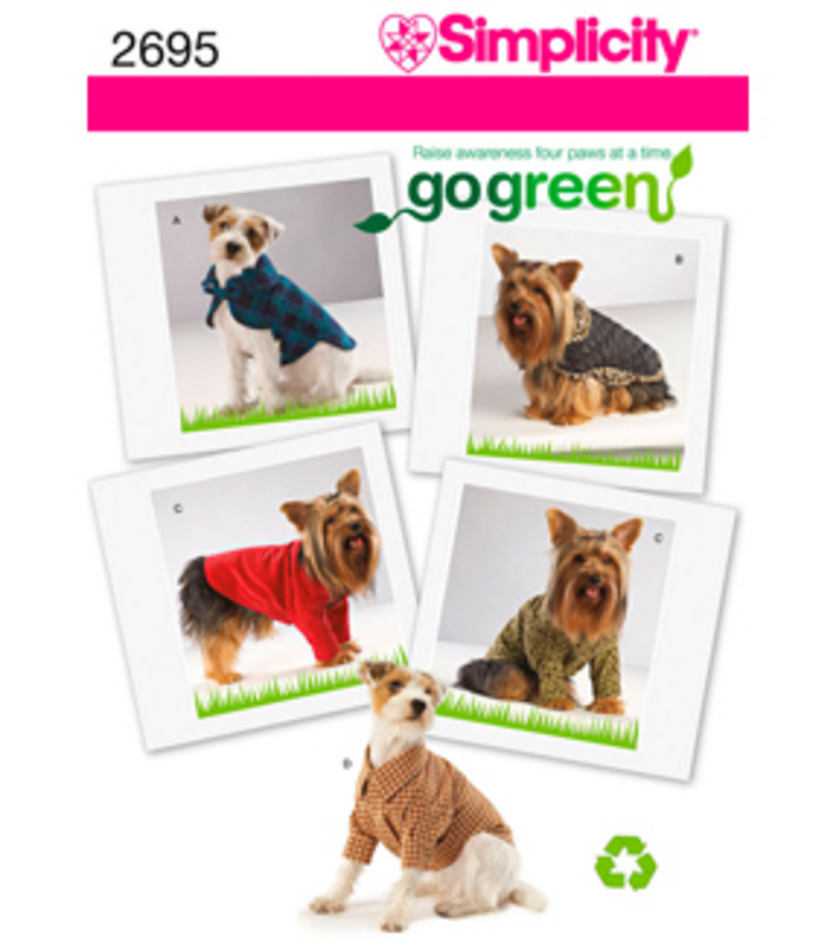 Simplicity Pattern 2695-Go Green Collection Dog Clothes Sz XS-M