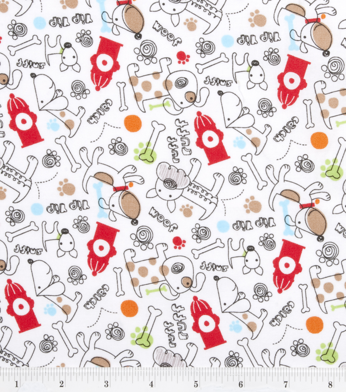 Novelty Cotton Print Fabric Firefighter Dogs