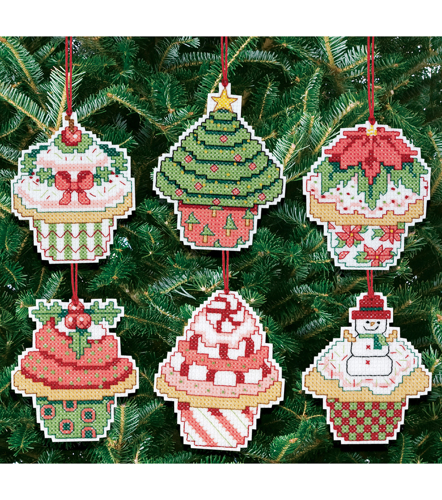 Janlynn Counted Cross Stitch Kit Christmas Cupcake Ornaments