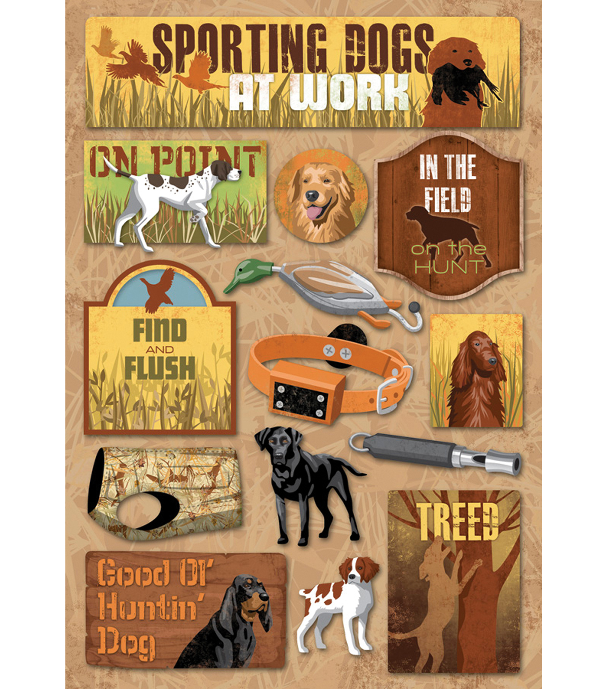 """Karen Foster Hunting Cardstock Stickers 5.5""""X9""""-Sporting Dogs"""