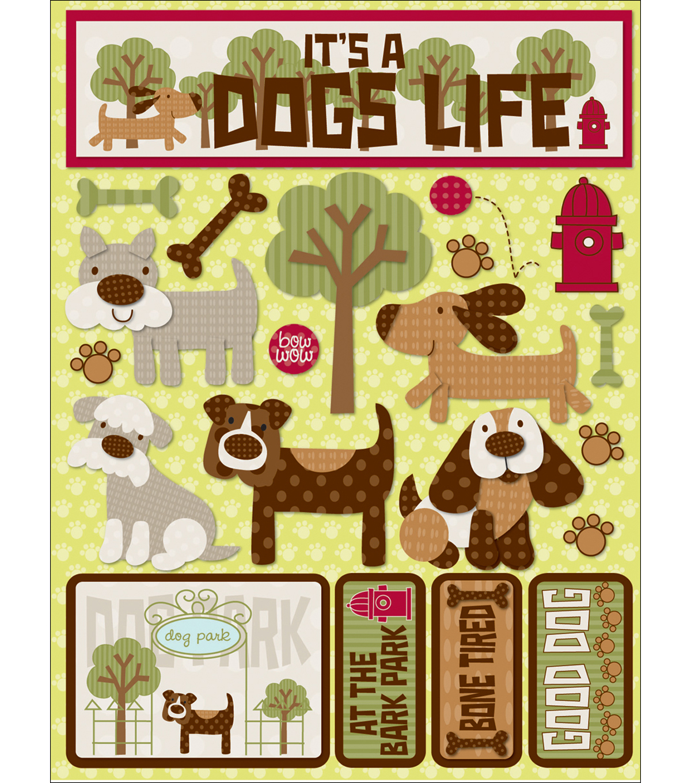 "Signature Dimensional Stickers 4.5""X6"" Sheet-Dog Park"