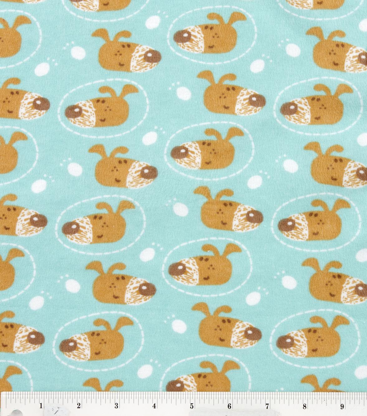 Snuggle Flannel Fabric- Dog Face
