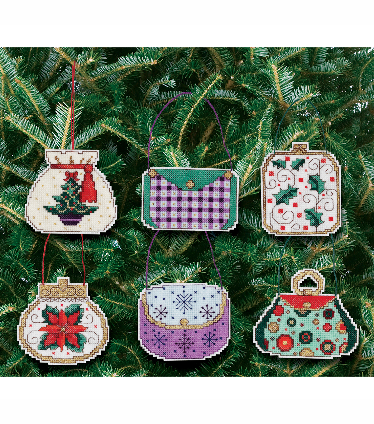 "Christmas Handbag Ornaments Counted Cross Stitch Kit-3""X3"" 14 Count Set Of 6"