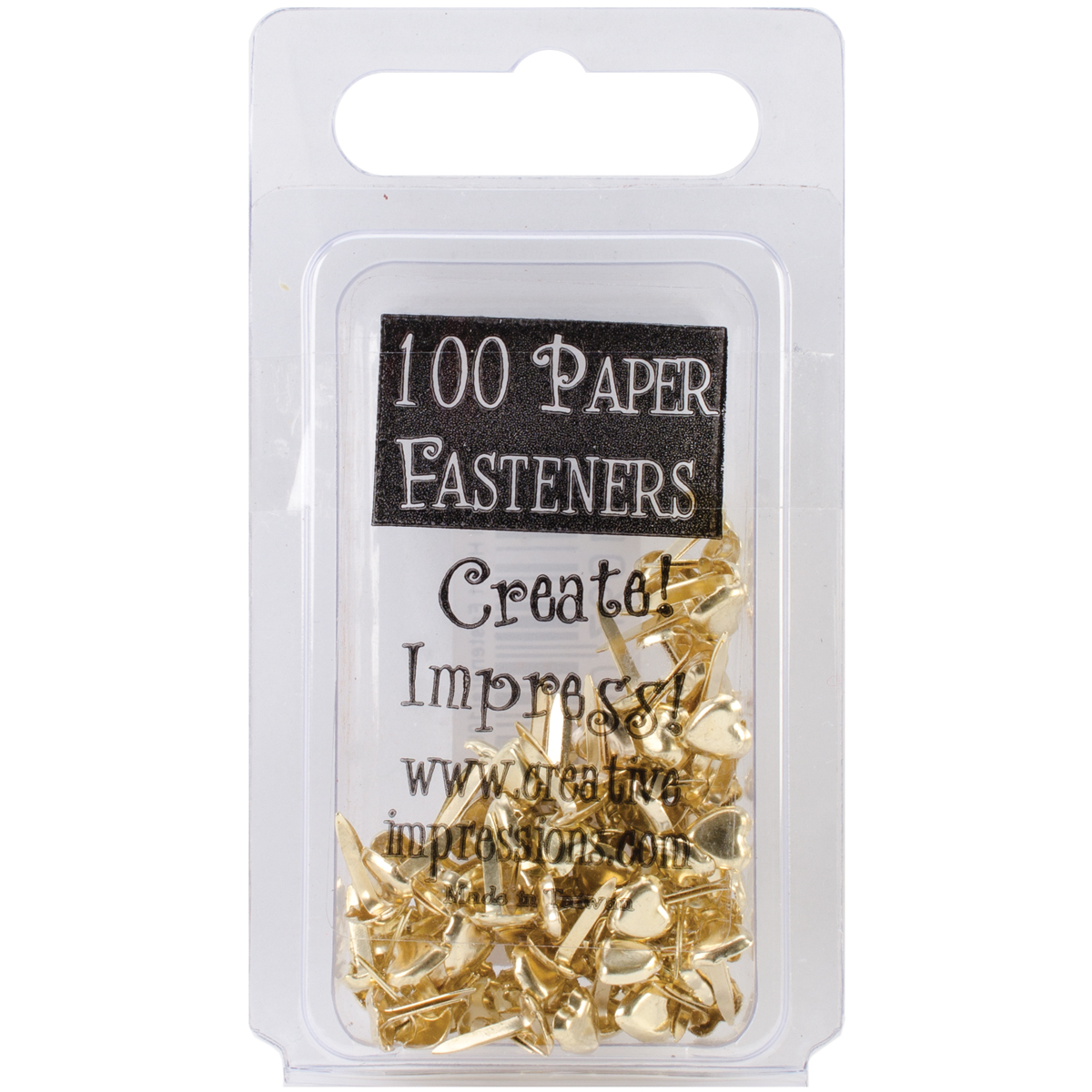 Creative Impressions Mini Metal Paper Fasteners Hearts Gold