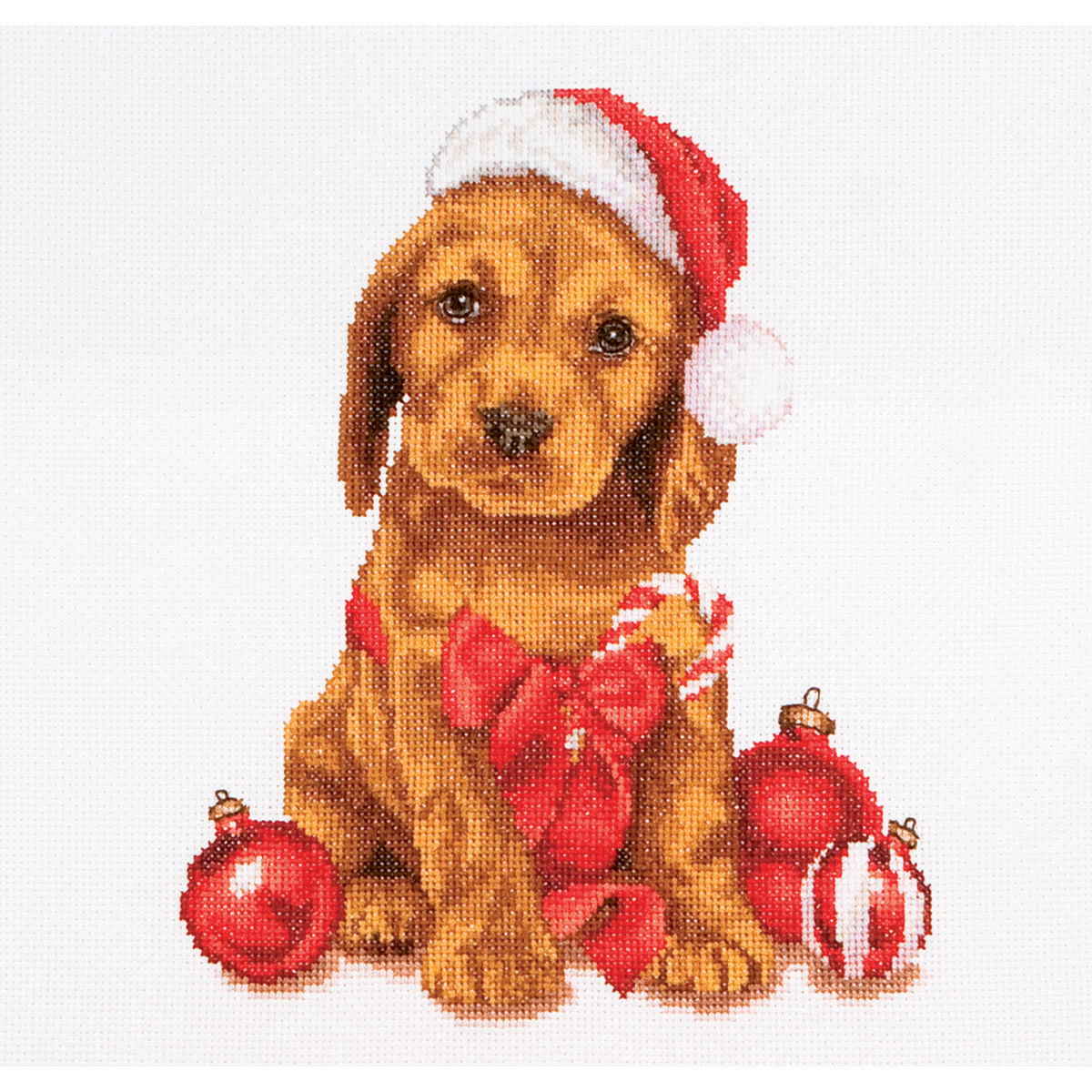 Thea Gouverneur counted-cross-stitch Kit Christmas Puppy On Aida