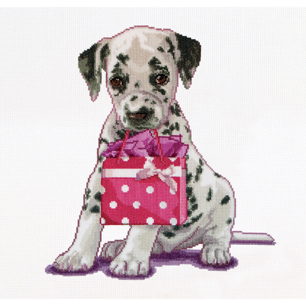 Thea Gouverneur counted-cross-stitch Kit Puppy Went Shopping On Aida